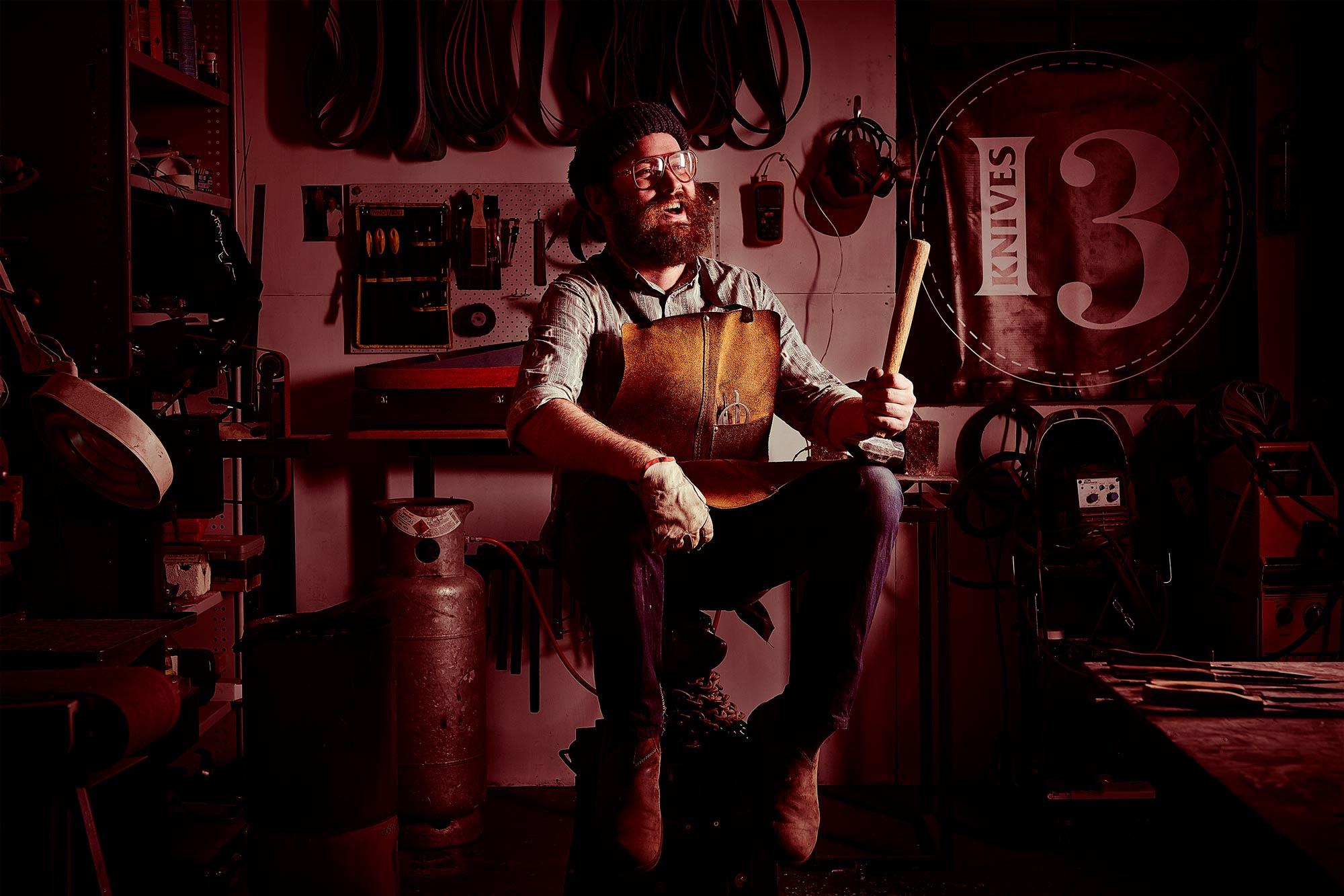 Bud Heyser - 13 Knives - Knife maker - Photo by Laurence James