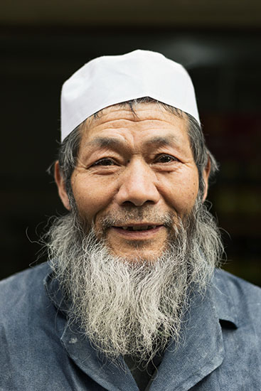 A portrait of a Uyghur man in Xian, China.